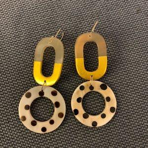 Anthropologie polka dot and gold earrings